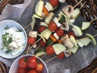 Grønnsaks spidd med halloumi