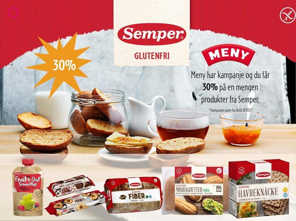 30% på glutenfritt fra Semper hos Meny frem til 1/3
