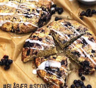 Glutenfrie scones med blåbær og melis