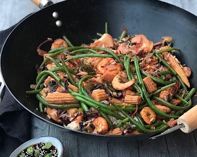Wok med scampi & grønnsaker